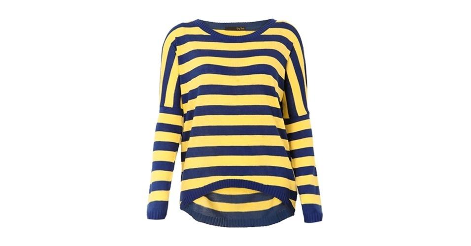 Suéter listrado amarelo e azul; R$ 119,90, da Pop Touch na Dafiti (www.dafiti.com.br) Preço pesquisado em junho de 2013 e sujeito a alterações