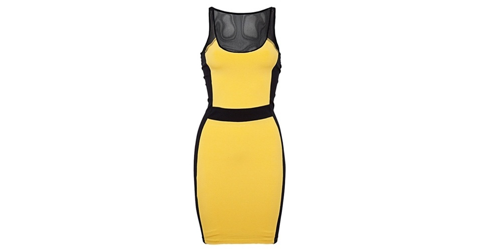 Vestido amarelo e preto; R$ 89,90, da Sommer na Dafiti (www.dafiti.com.br) Preço pesquisado em junho de 2013 e sujeito a alterações