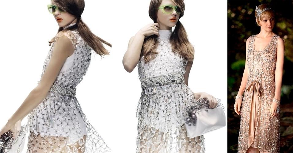 À esquerda imagem da campanha da Prada e à direita imagem do figurino usado por Carey Mulligan. O vestido de cristais usado pela atriz é da coleção Verão 2010 da Prada é, segundo a figurinista, um exemplo perfeito da mistura do antigo e do novo, por serem modelos semelhantes aos usados pelas mulheres do passado
