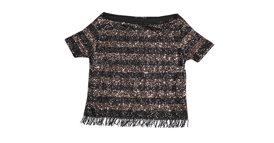 Blusa de paetê listrada com franja; R$ 269, na Ágatha (www.agatha.com.br). Preço pesquisado em junho de 2013 e sujeito a alterações