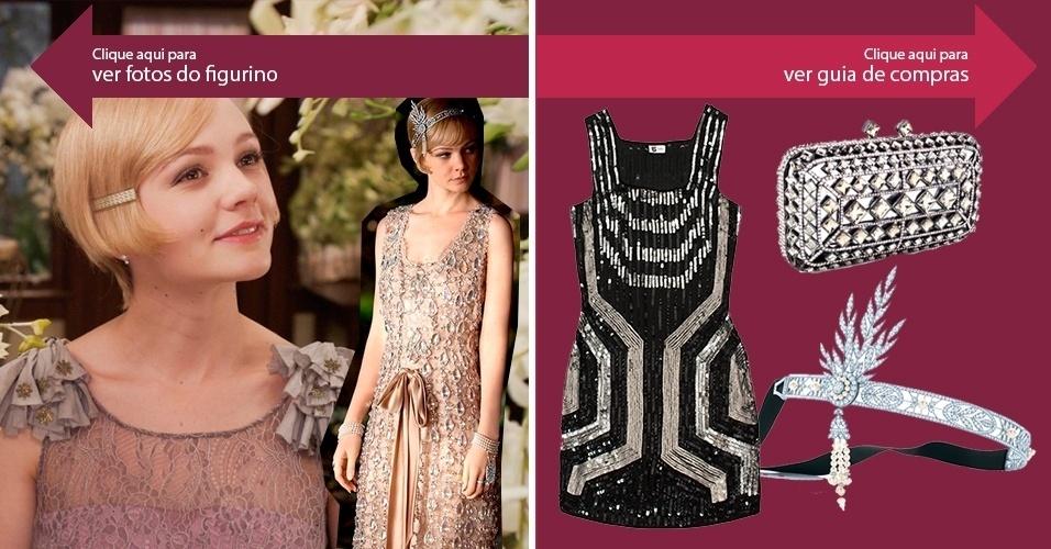 """Clique na seta da esquerda para ver imagens do figurino do filme e, da direita, para ver onde encontrar roupas e acessórios inspirados em """"O Grande Gatsby"""""""