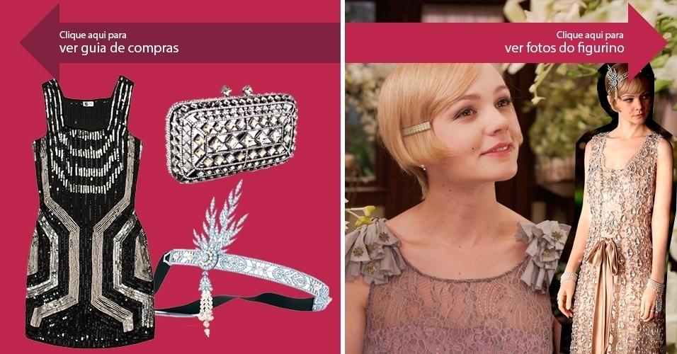 """Clique na seta da esquerda para ver onde encontrar roupas e acessórios inspirados em """"O Grande Gatsby"""" e, na da direita, para ver imagens do figurino do filme"""