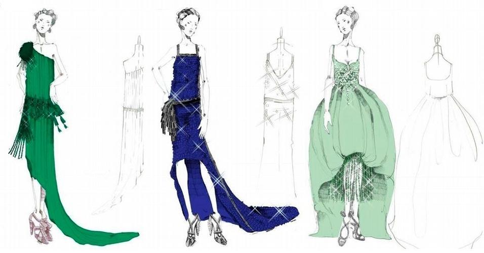 """Croquis dos looks da Prada usados no figurino das cenas de festa do filme """"O Grande Gatsby"""""""