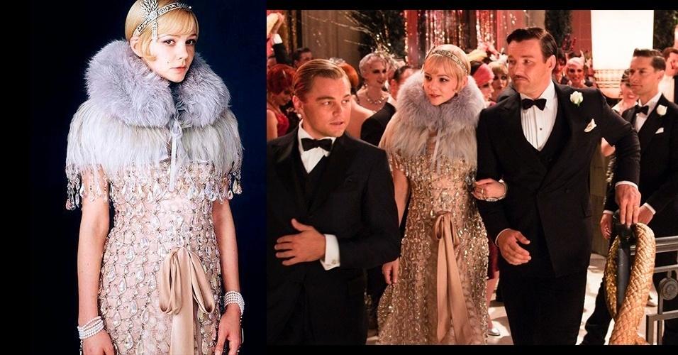 """O vestido de cristais usado por Daisy (Carey Mulligan) em """"O Grande Gatsby"""" é da coleção de Verão 2010 da Prada e é, segundo a figurinista, um exemplo perfeito da mistura do antigo e do novo, afinal, apesar de atual, as mulheres do passado usavam vestidos semelhantes"""