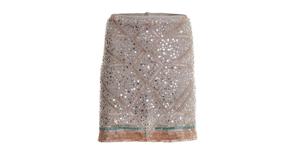 Saia bordada em tons nude; R$ 1.230,50, da Lilly Sarti, na Shop2gether (www.shop2gether.com.br). Preço pesquisado em junho de 2013 e sujeito a alterações