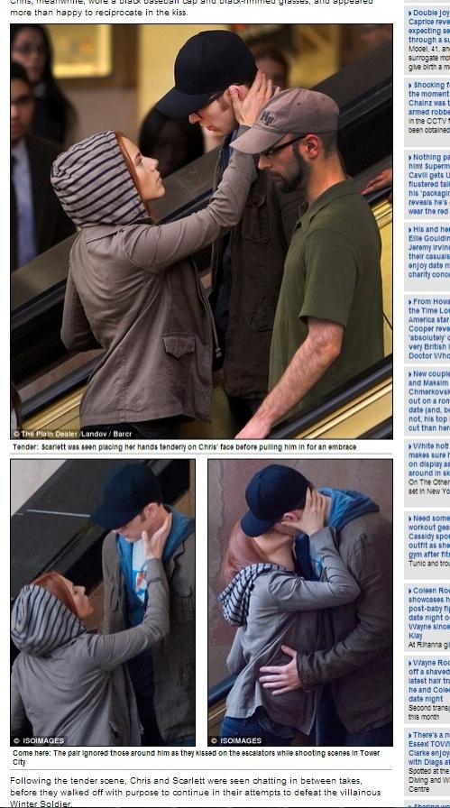 Scarlett Johansson e Chris Evans foram flagrados aos beijos, no meio de uma escada rolante, durante as filmagens de