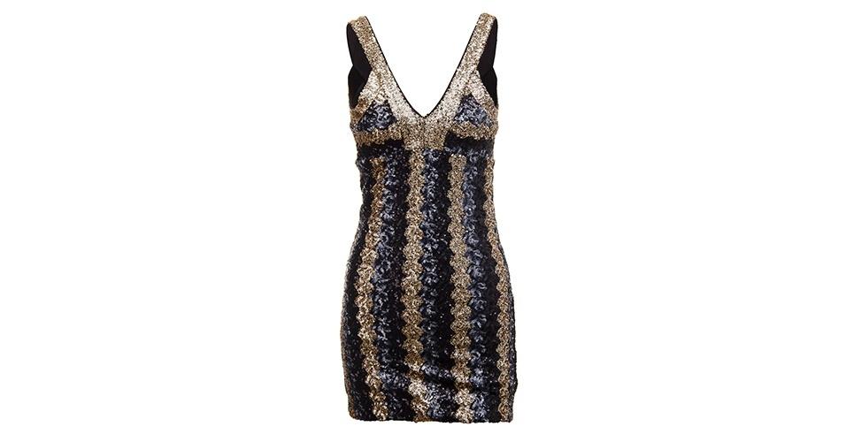 Vestido de paetê com decote V; R$ 299,99, na Handbook Fashion (www.hbf.com.br). Preço pesquisado em junho de 2013 e sujeito a alterações
