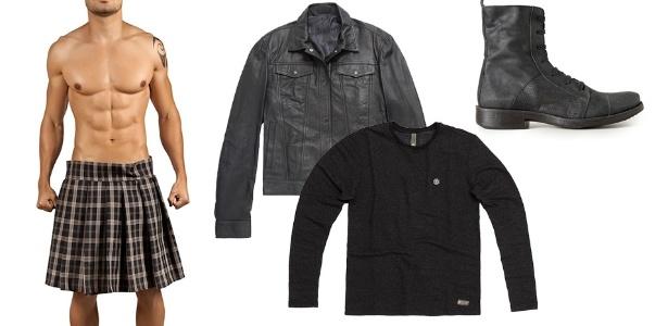 O kilt (saia tradicional escocesa) é bastante versátil e combina com a maioria das peças do guarda-roupa masculino. Um jeito casual de usar é combinar com camiseta, jaqueta e coturno