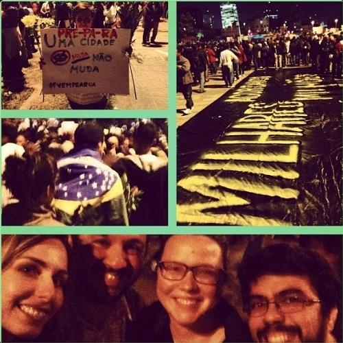 17.jun.2013 - A modelo Mariana Weickert participa de manifestação pela mudança no Brasil e publicou foto em seu Instagram com as hashtags #Brasil #ogiganteacordou #historico #respeito #whitemonday