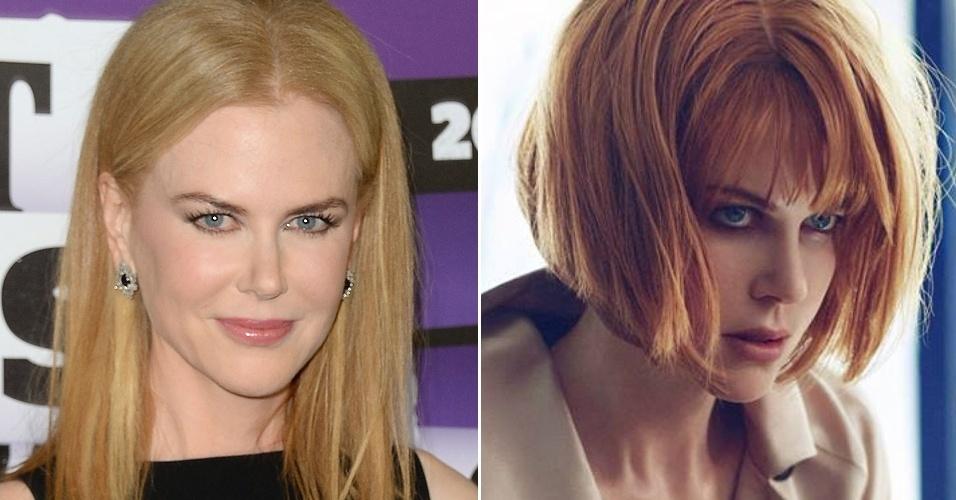 Julho: Nicole Kidman exibiu seu novo corte de cabelo - ou seria uma peruca? - na nova campanha da marca de sapatos de luxo Jimmy Choo. Nas imagens, a atriz aparece com um corte chanel assimétrico e com os fios tingidos de ruivo