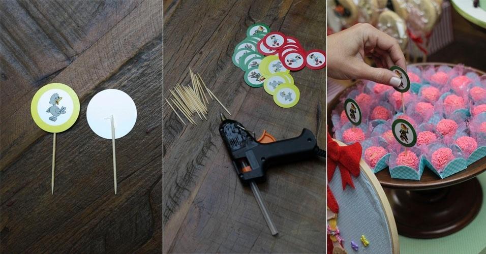 Outro recurso que dá graça na decoração da mesa são os toppers, cujas figuras podem ser encontradas na internet. Basta imprimi-las, recortá-las e colá-las em palitos, que serão espetados nos doces