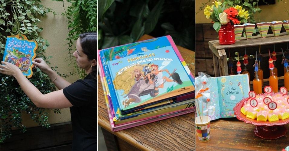 Para enfatizar o clima de contação de histórias, use os livros para decorar a festa