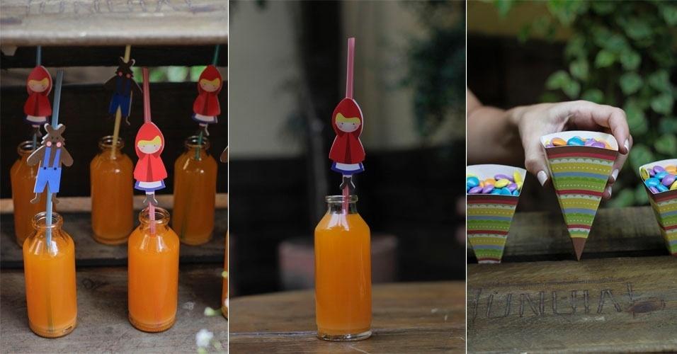 Você pode dar graça à festa com recursos simples e baratos como usar garrafinhas de vidro para colocar o suco. Repare que diferencial fica por conta do canudo com personagens. Outra dica é encher cones de papelão com pastilhas de chocolate. As crianças vão adorar