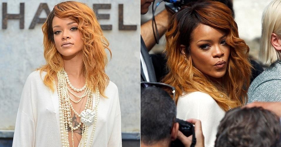 2.jul.2013 - Cantora Rihanna vai a evento de moda em Paris com blusa transparente e sem sutiã e deixa à visível seus piercings nos mamilos