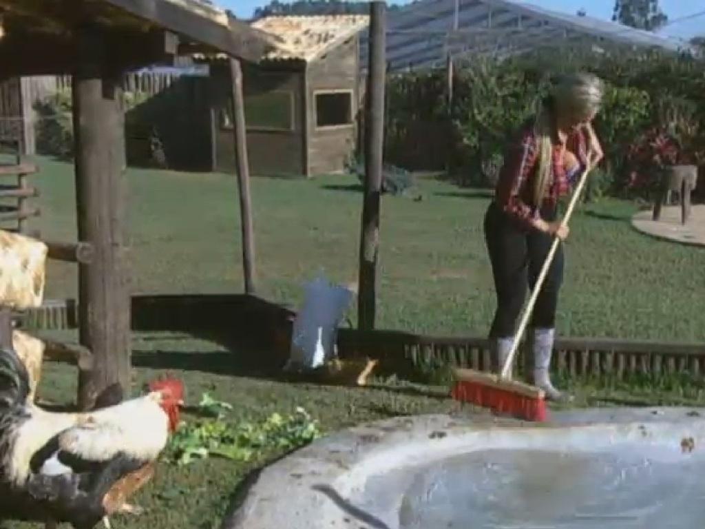 5.jul.2013 - Enquanto Aryane dá comida às galinhas e limpa o galinheiro