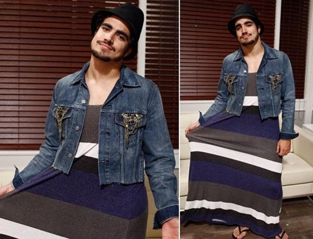 Caio Castro usa vestido em gravações de