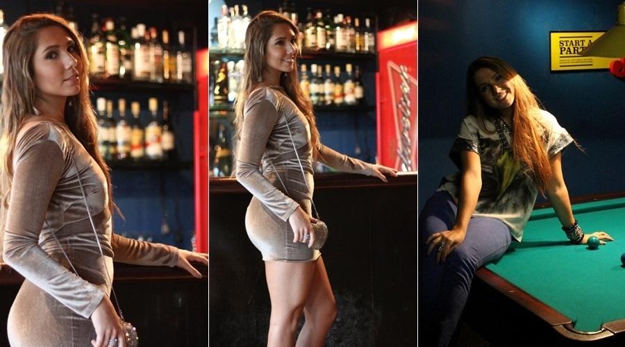 9.jul.2013 - Filha de Renato Gaúcho, a modelo Carolina Portaluppi, fez ensaio para um portal de moda em uma boate na zona oeste do Rio. Carolina usou vestido justo ao corpo e posou em uma mesa de sinuca
