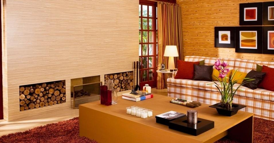 Sala De Estar Vermelho ~ Os tons de vermelho utilizados na sala de estar criada pelo arquiteto