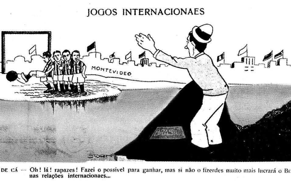 Charge criada por Storni em 1930 mostra a seleção voltando da Copa no Uruguai desacreditada após perder para a Iugoslávia