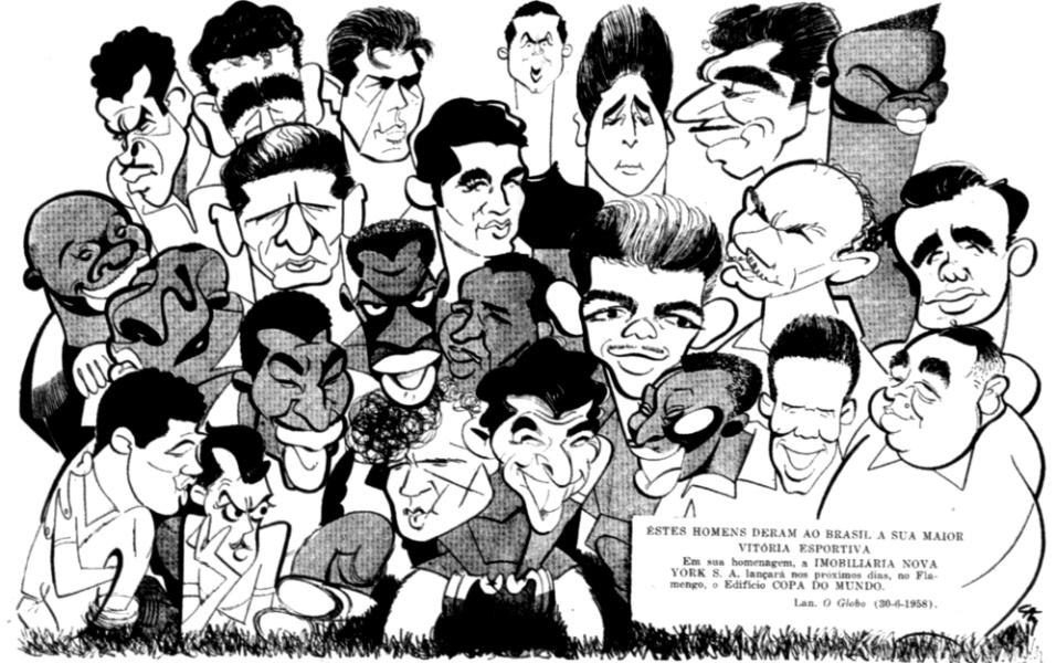 """Copa de 1958 na Suécia. Lan, grande cartunista que já inovou na Copa anterior criando as caricaturas de jogadores da seleção em pose conjunta, publicava em """"O Globo"""" uma homenagem à vitória dos campeões"""