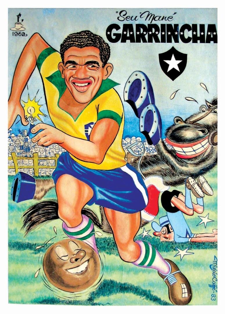 """Copa de 1962, no Chile. Miécio Caffé publica na """"Gazeta Esportiva"""" a charge do craque da conquista do bi-campeonato, Garrincha"""