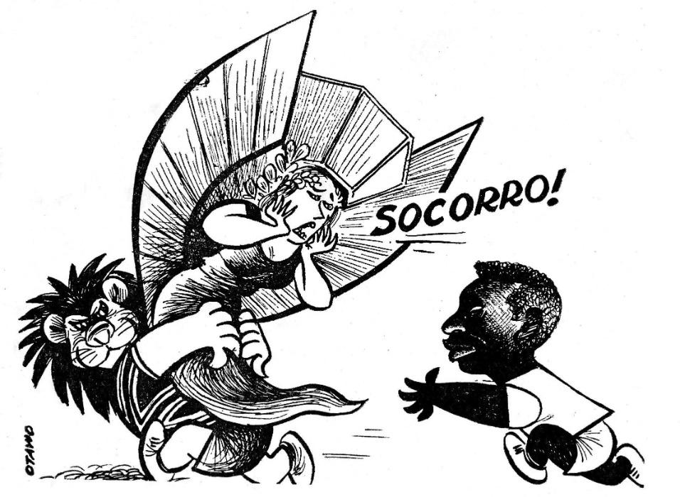 A Copa de 1966 na Inglaterra foi ruim para o Brasil de Pelé. Otávio mostra a nossa taça Jules Rimet saindo de nossos braços para os ingleses