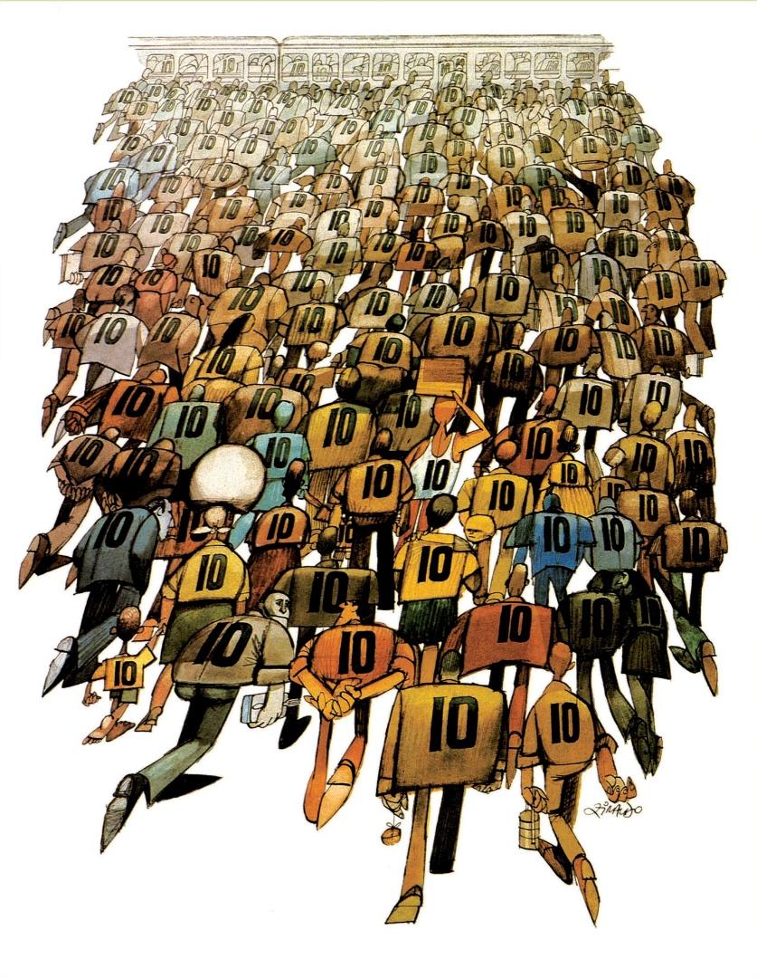 """Copa de 1970 e a grande festa do Tri. Ziraldo publicou charge histórica na revista """"Visão"""", mostrando que no dia seguinte à conquista do título todos eram camisa 10 nas ruas"""