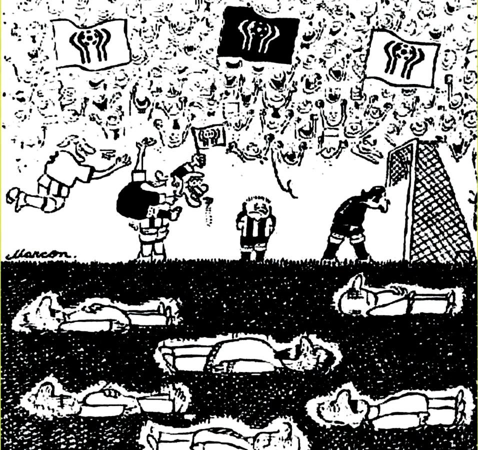 Copa de 1978, na Argentina. Charge de Marcon no Pasquim mostra que as vitimas da ditadura militar do país usaram o futebol para esconder suas vítimas sob o campo