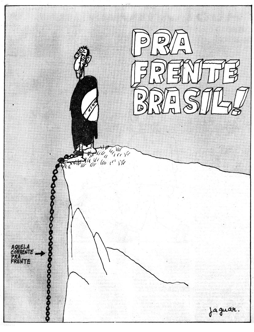 """Copa de 1982 na Espanha tem charge inesquecível de Jaguar satirizando música da época que dizia """"Pra Frente Brasil... É aquela corrente pra frente"""". Publicada no """"Pasquim"""" em plena ditadura militar"""