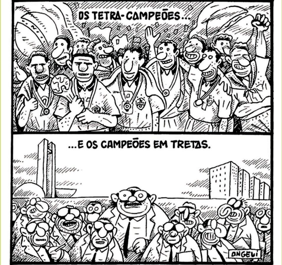 """Copa de 1994, nos EUA, Angeli, na """"Folha de São Paulo"""", mostra os campeões chegando da vitória para o escândalo das bagagens cheias de muamba"""