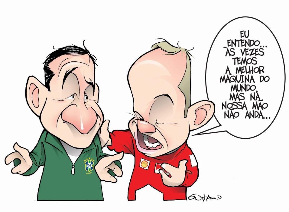 """Copa de 2006. Gustavo Duarte do jornal """"Lance"""" coloca Parreira falando com Rubinho Barrichello sobre os descaminhos da vitória"""