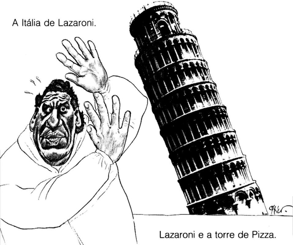 Em 1990, na Itália, o técnico Lazaroni, depois substituído por Falcão, se assusta com a torre de Pizza (e toda a Itália) caindo sobre ele