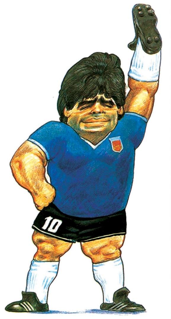 """Na Copa de 1986, no México, a charge do Chico Caruso, no Globo, mostra Maradona que fez um gol que lhe rendeu o apelido de """"La mano de Díos"""""""