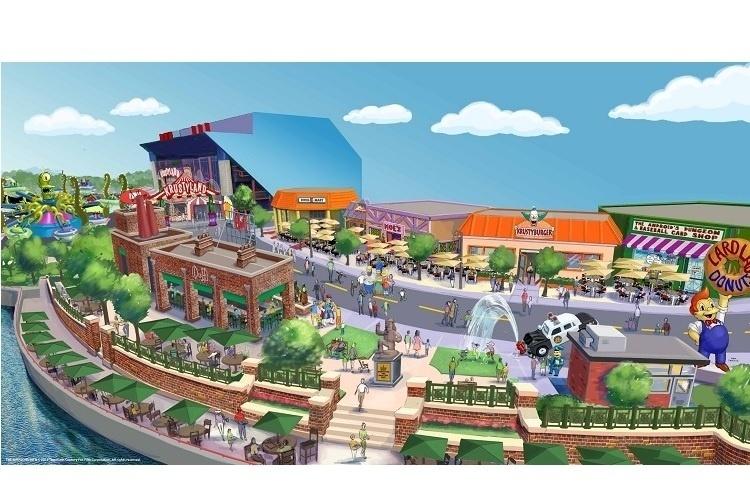 Perspectiva artística da fictícia cidade de Springfield, o lar da família Simpson, que está sendo reproduzida no parque temático Universal Studios Florida, em Orlando. Lá será possível entrar em um mundo que há anos encanta gerações de fãs de uma das séries mais populares da TV norte-americana