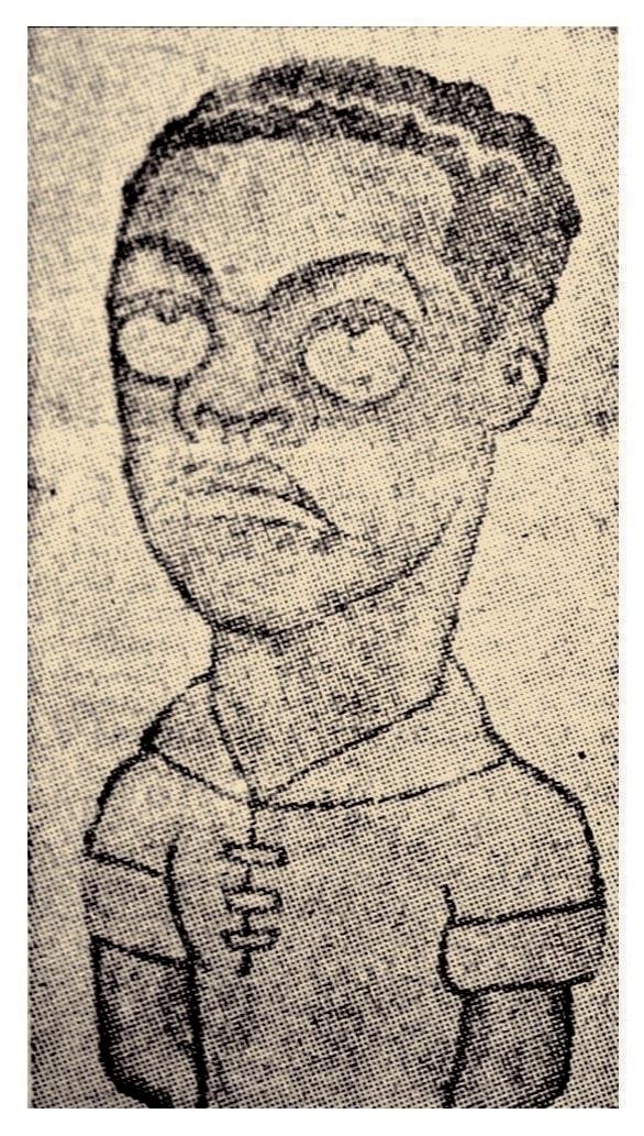 """Uma das primeiras caricaturas de Leônidas da Silva, publicada m 1934 na """"Folha da Noite"""" por autor desconhecido. Leônidas foi o destaque da Copa da Itália, onde fizemos apenas um jogo e perdemos para a Espanha"""