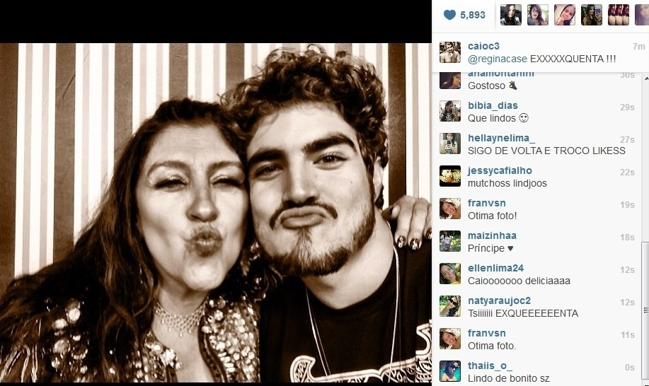 11.jul.2013 - Caio Castro publicou foto com Regina Casé nos bastidores do