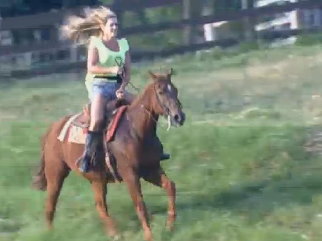 12.jul.2013 - Denise Rocha diz que cavalgada lembra sua infância