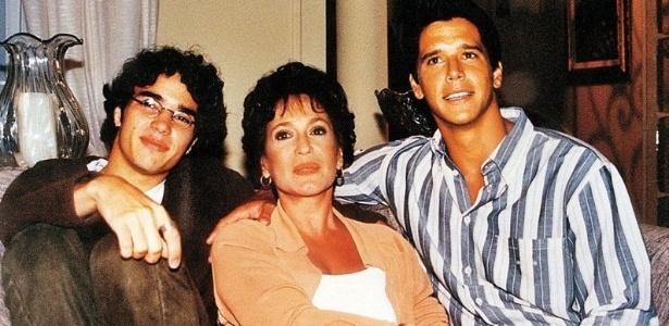 17.mar.1999 - Os atores Caio Blat, Susana Vieira e Márcio Garcia em gravação da novela