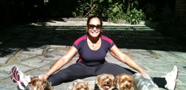 Susana Vieira e seus cinco cachorros da raça Yorkshire. A imagem foi divulgada pela atriz por meio de sua página do Twitter