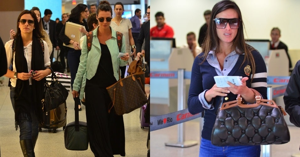 13.jul.2013 - As atrizes Camila Rodrigues e Juliana Knust e a ex-A Fazenda Nicole Bahls embarcam no aeroporto Santos Dumont