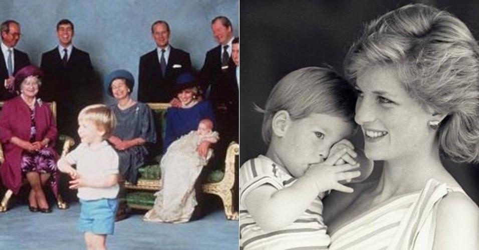 Príncipe Harry no colo de Diana em sua cerimônia de batismo, em 1984, e às vésperas de completar 4 anos de idade
