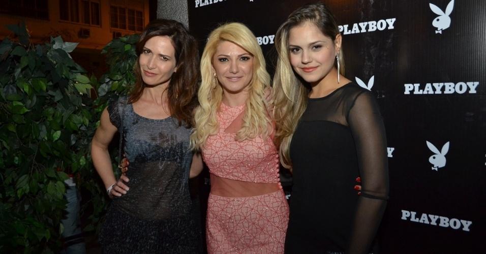 16.jul.2013 - A atriz Antônia Fontenelle com Ingra Liberato e Jéssika Alves na festa de lançamento da revista