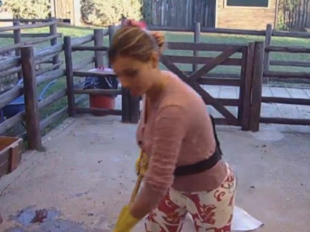 18.jul.2013 - Andressa Urach limpa estábulo