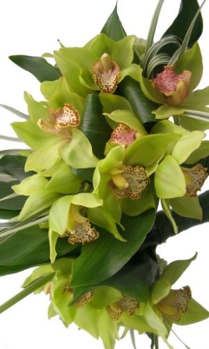 Buquê de orquídea cimbidium, folha de haram e cabo de junco; na Flor & Forma