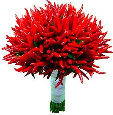 Buquê de pimentas vermelhas; na Florencanto