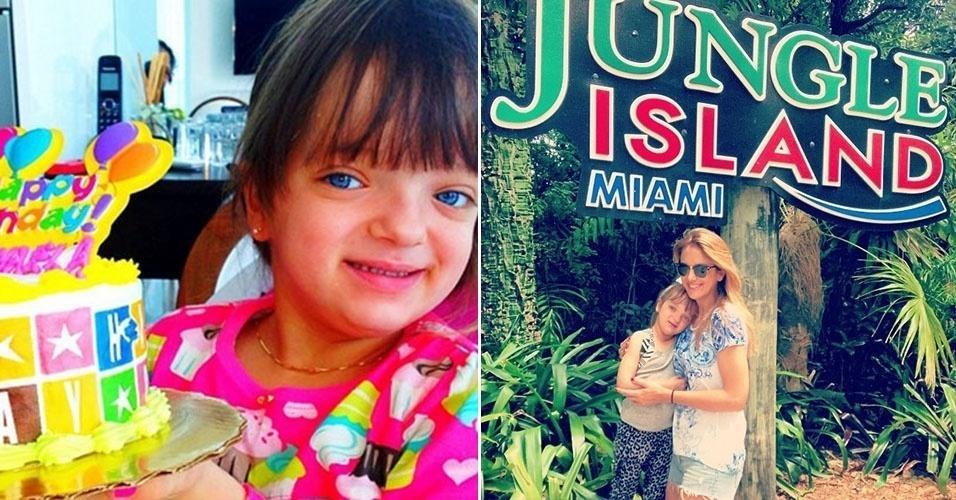 21.jul.2013 - Rafaella Justus posa com bolo em seu aniversário de 4 anos