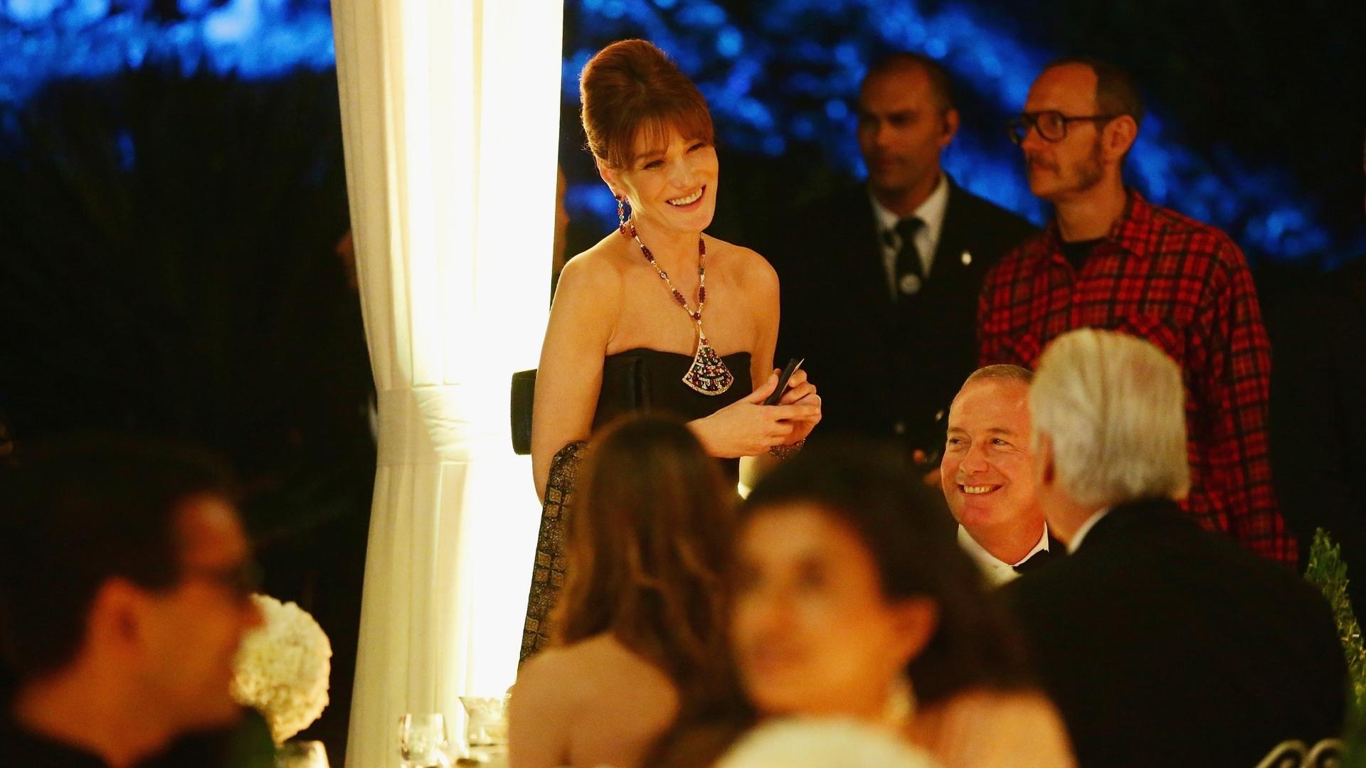 20.jun.2013 - Cantora Carla Bruni participa da apresentação da coleção Bulgari High Jewellery Diva Collection, em Portofino, Itália