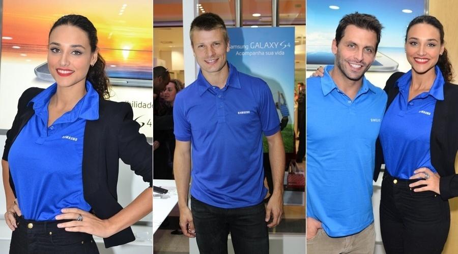 26.jul.2013 - Henri Castelli, Débora Nascimento e Rodrigo Hilbert prestigiaram a inauguração de uma loja de eletrônicos em um shopping de São Paulo