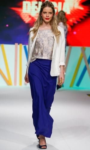29.jul.2013 - A azul foi uma das cores mais vistas na passarela do Mega Polo Moda. Este é da marca Delícia