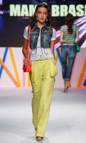 30.jul.2013 - A Mamô Brasil trouxe para a passarela do Mega Polo Moda o amarelo cítrico, que apareceu no desfile de diversas marcas e promete ser tendência no verão